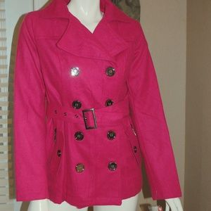 NWT Bongo Pink Double Breasted Belted Coat